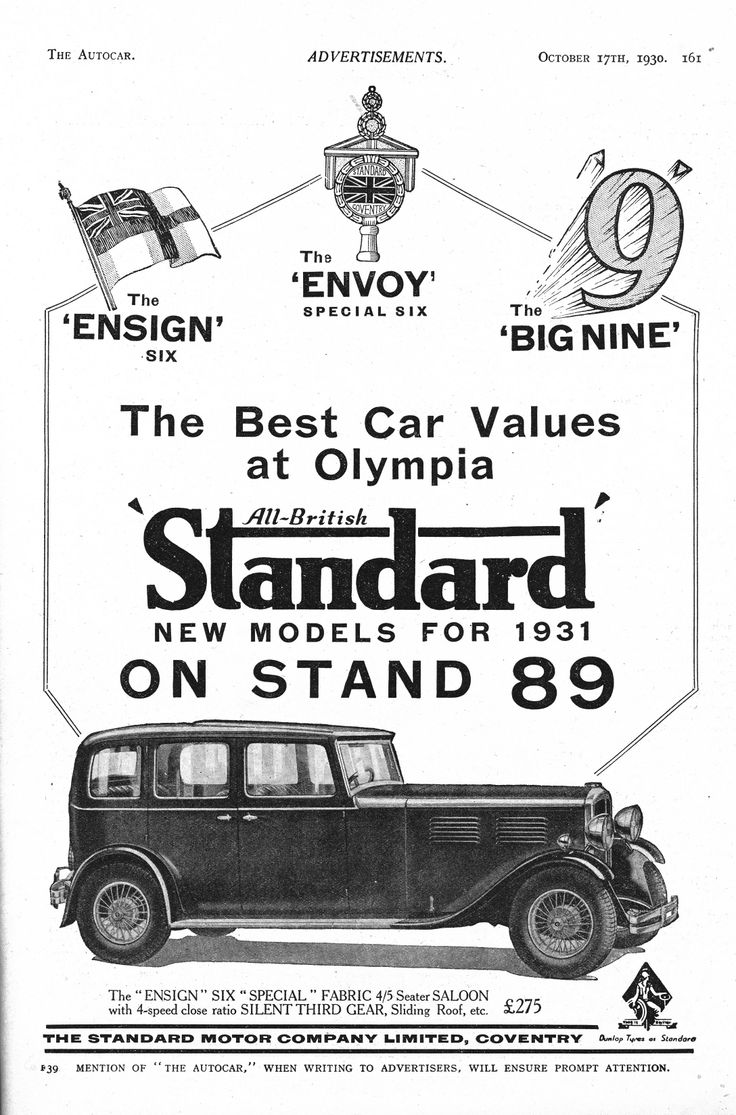 Standard ensign six 6 envoy big nine 9 motor car autocar advert 1930