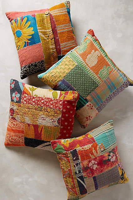 Kantha Patchwork Pillow - anthropologie.com