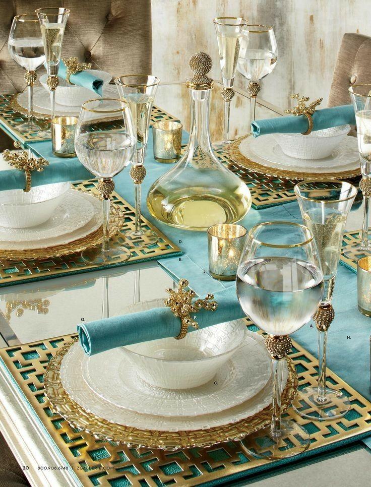 Gorgeous Tablescape Aquamarine And Gold Yemek Takimi Dekor Masa Duzeni