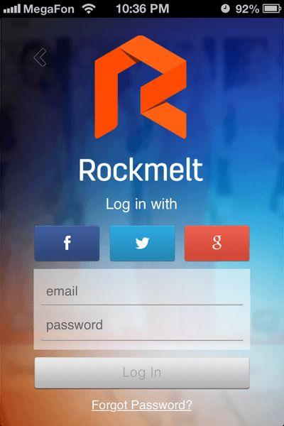 The Rockmelt app offers one-click sign-on via Facebook, Twitter or Google.