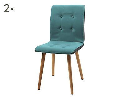 Set di 2 sedie in legno e tessuto Frida petrolio, 43x88x55.5 cm