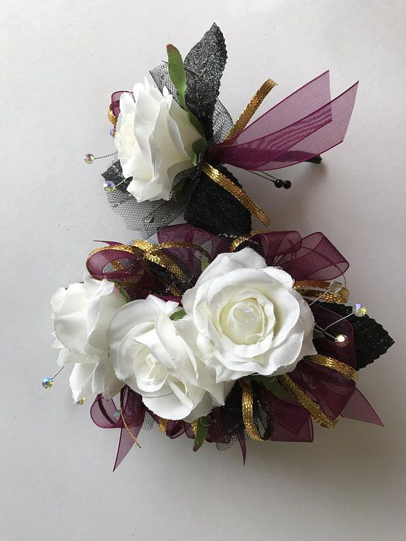 Burgundy Gold And White Rose Corsage And Boutonniere Set
