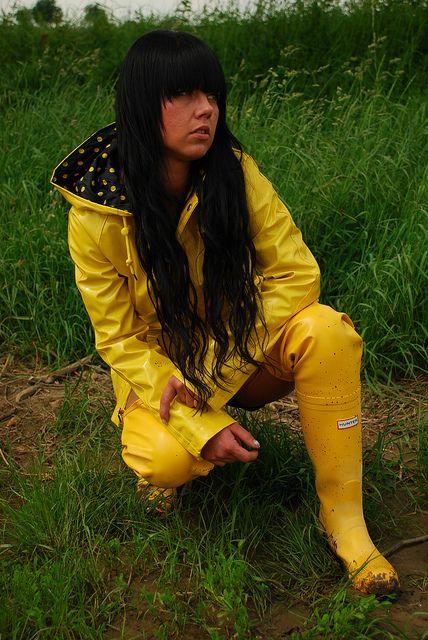 Yellow Rubber Waders Yellow Raincoat Raincoat Jacket
