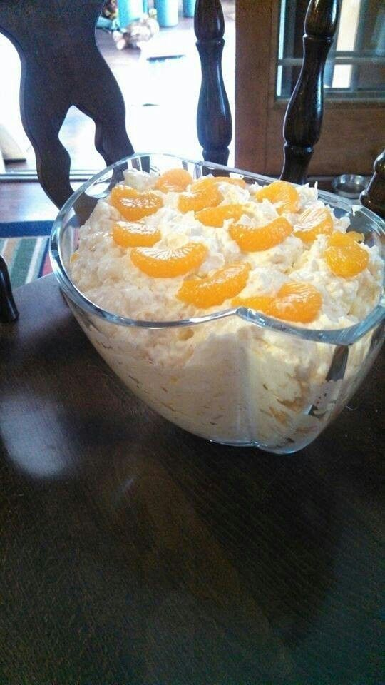 MANDARIN ORANGE SALAD!! Ingredients: 1 pkg Vanilla Instant Pudding Mix (use dry) I would use sugar free 1 Large can Crushed Pineapple (undrained) 2 Medium/Large cans Mandarin Oranges (drained) 1 pkg Cool Whip 8 oz ( and you could use fat free) Directions: Mix together Cool Whip and pudding mix. Add pineapple and both cans of oranges. Save a few oranges for top of salad. Refrigerate 2 hrs. by aracisgon