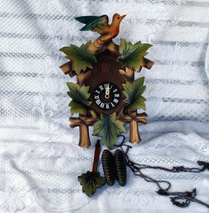 E. Schmeckenbecher West Germany Wood Cuckoo Wall Clock, Coo Coo Clock, Black Forest Cuckoo Clock, Colorful Carved CooCoo Clock, Wall Clock by SierrasTreasure on Etsy