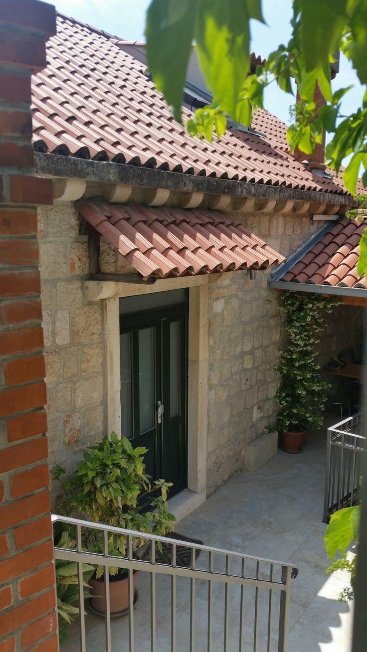 Tile Awning Stone Door Frame House Awnings Outdoor