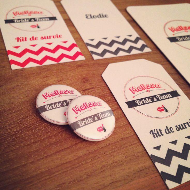"""Papeterie d'EVJF : badges + étiquettes tags + carte """"Avant ton mariage"""" (messages à la future mariée) ©LFP"""