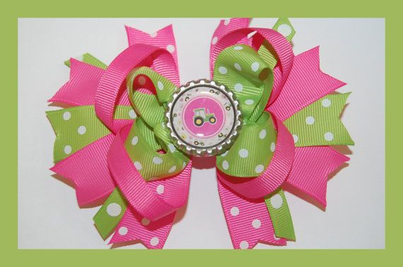 JOHN DEERE Hair Bow w/Bottle Cap Attached to Alligator Clip.. Made with Grosgrain Ribbon.. on Etsy, $6.99