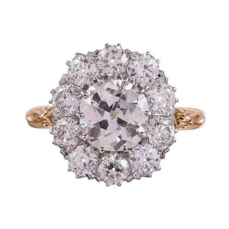 Old European Diamond gold Cluster Ring | From a unique collection of vintage cluster rings at https://www.1stdibs.com/jewelry/rings/cluster-rings/