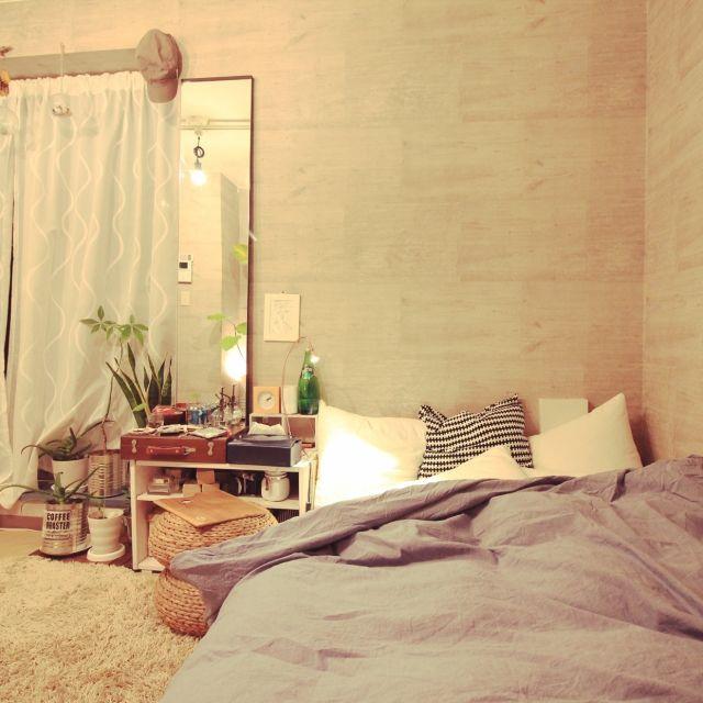 YaSuNoさんの、ベッド周り,観葉植物,無印良品,照明,IKEA,植物,雑貨,ハンドメイド,一人暮らし,手作り,ニトリ,西海岸インテリア,塩系インテリア,のお部屋写真