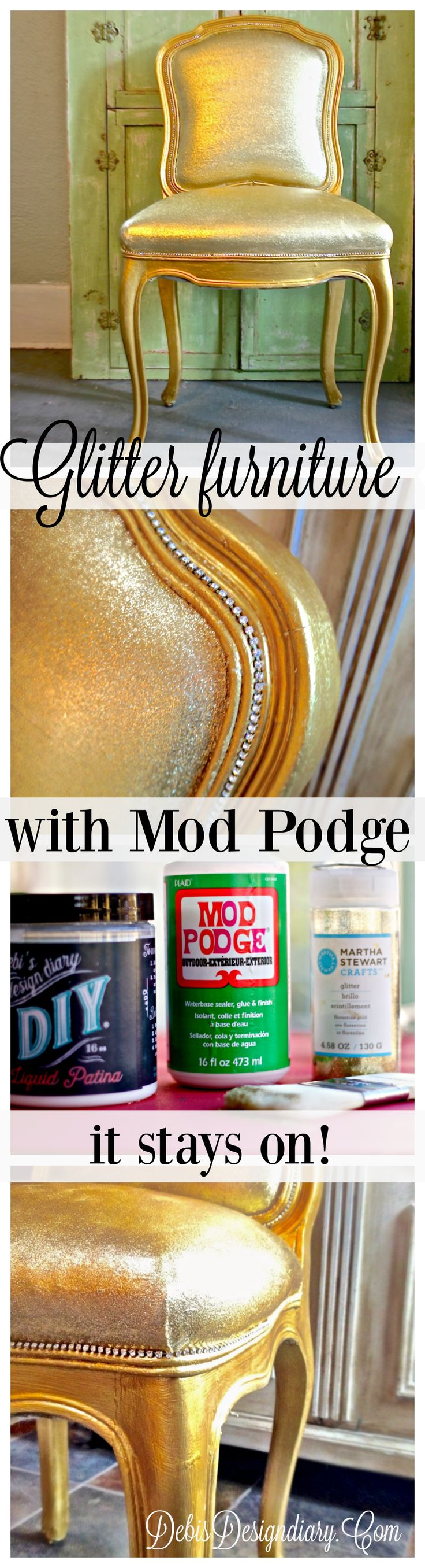How to glitter upholstery without cracking or glitter rubbing off with Mod Podge