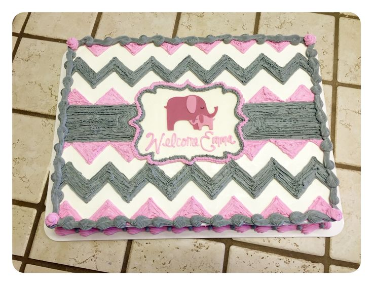 A pink and gray chevron sheet cake :)