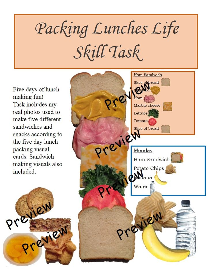 This product is a life skill task that teaches the student about lunch preparation. The visuals are all real photos and come with instructions including step by step orders for preparing each sandwich. After making the sandwiches they will complete the lunch by adding other items listed on the daily lunch menu cards. Cards have written and visual images to help with lunch preparation. This task is part of my Life Skill and Vocational Skill Bundle #1