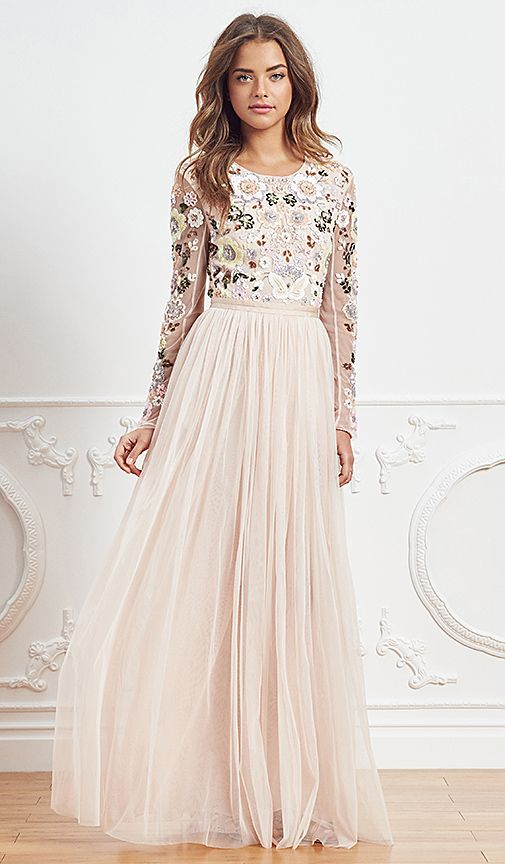 Needle & Thread Floral Cluster Embellished Gown in Ballet Pink | REVOLVE