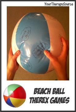 Beach Ball Game - To encourage coordination skills, muscle strengthening, balance and gross motor skills.  But could also be modified for a Ice Breaker Game!