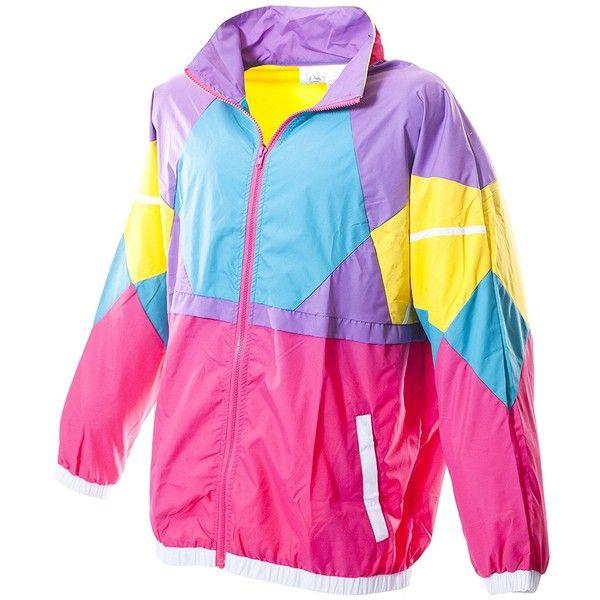 Funny Guy Mugs Like Totally 80s 90s Retro Neon Windbreaker ($45) via Polyvore featuring activewear, activewear jackets, pink sportswear, neon activewear and retro sportswear