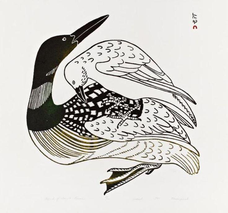 Kananginak Pootoogook (b.1935-d. 2010) Legend of Loon And Raven 24 x 23 stonecut (1971) Walker's Auction November 2015