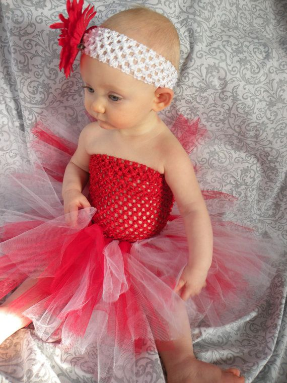 Valentine's Day Red Crochet TuTu Dress/ Red and White tutu skirt and Matching Headband/ Baby/infant/ toddler Girl Canada day tutu girl dress...