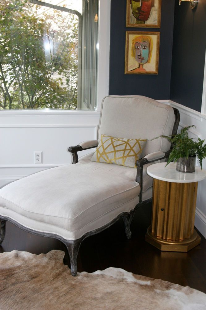 Details About Hollywood Regency French Style Linen Chaise