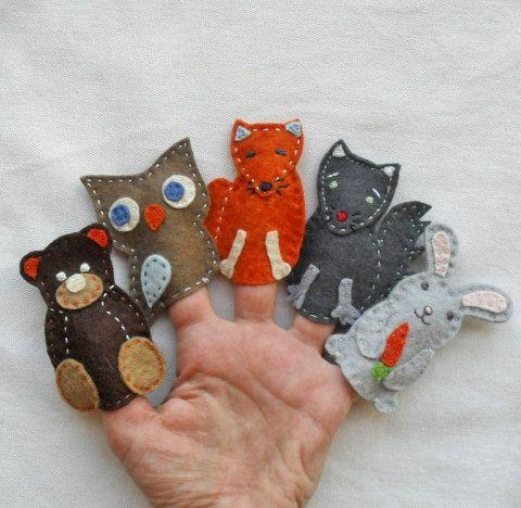 Marionnettes à doigt famille escargot par feltonfinger sur Etsy