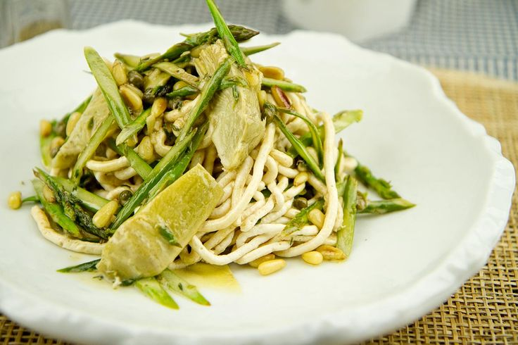 Chicken Noodles with Asparagus, Artichokes and Pine Nuts / @DJ Foodie / DJFoodie.com