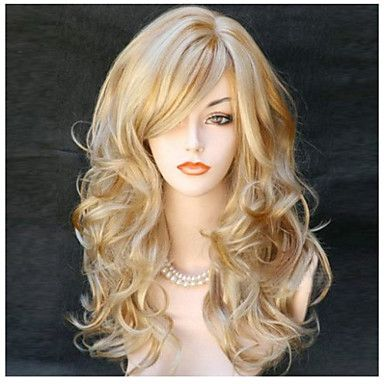 Popular! Top Quality Blonde Color Long Curly Synthetic Wigs 4941819 2017 – $14.09