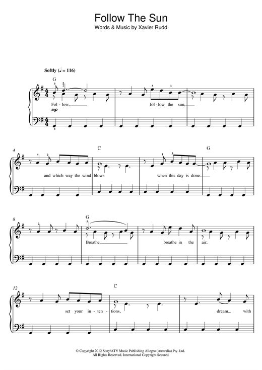 Nouvelle partition piano sur Modern Score !    Xavier Rudd: Follow The Sun - Partition Piano Facile    #sheetmusic #piano #XavierRudd #Rudd