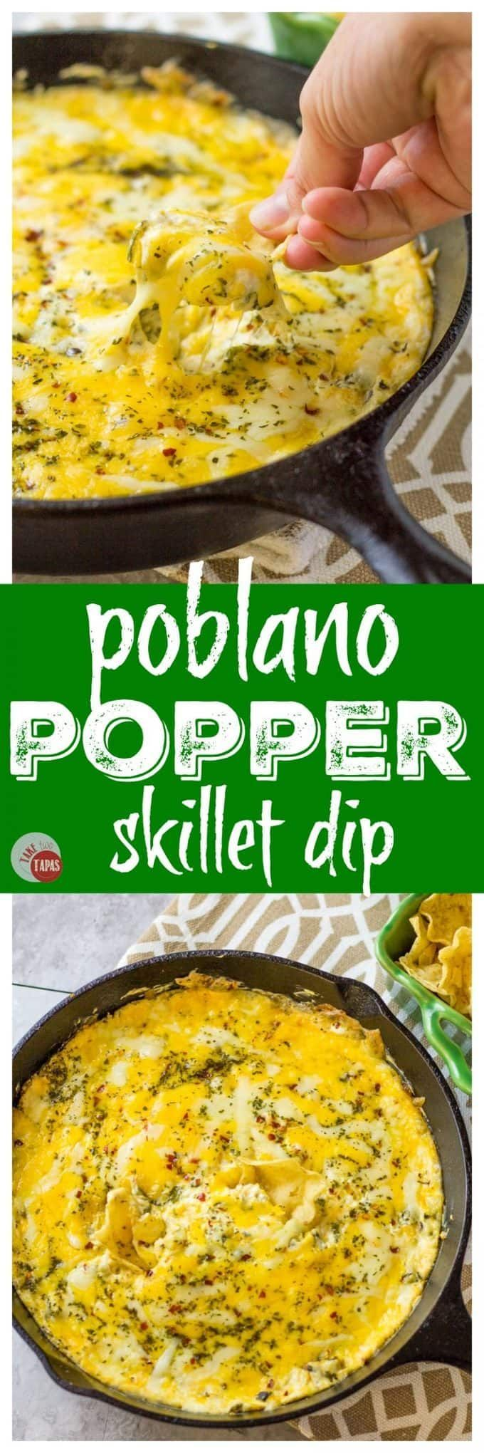 My Poblano Popper Skillet Dip is a new twist on the classic jalapeno popper dip with a smoky kick! Great appetizer recipe for your next party.