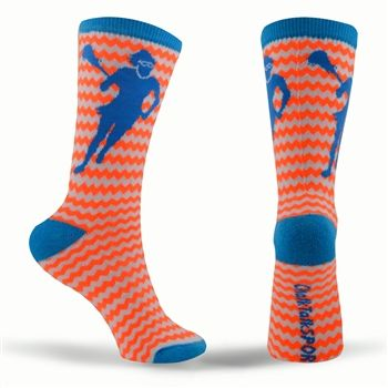 Zig Zag Neon Series Lacrosse Socks (Orange, Blue, White) | Girls Lacrosse Socks