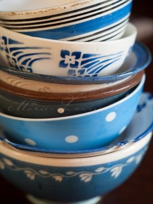 mismatched blue and white china