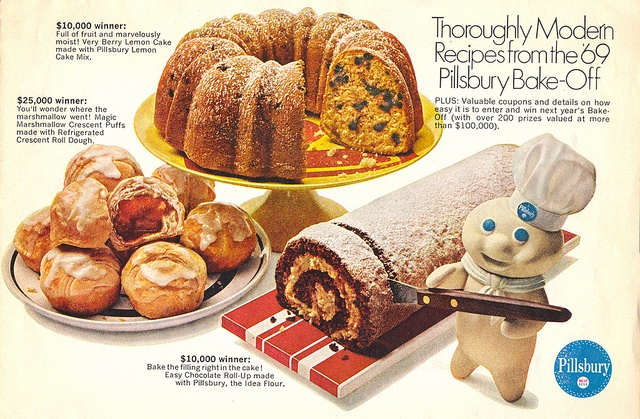 A selection of thoroughly modern recipes from the '69 Pillsbury Bake-Off. #vintage #1960s #food #dessert