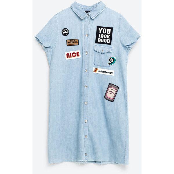 PATCH DENIM DRESS (600 ZAR) ❤ liked on Polyvore featuring dresses, blue dress, denim dress and blue denim dress