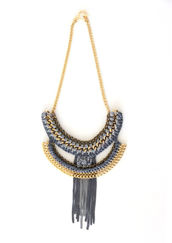 Gold chain nacklaceKnitted Chuncky chain by KandKapi on Etsy, $80.00