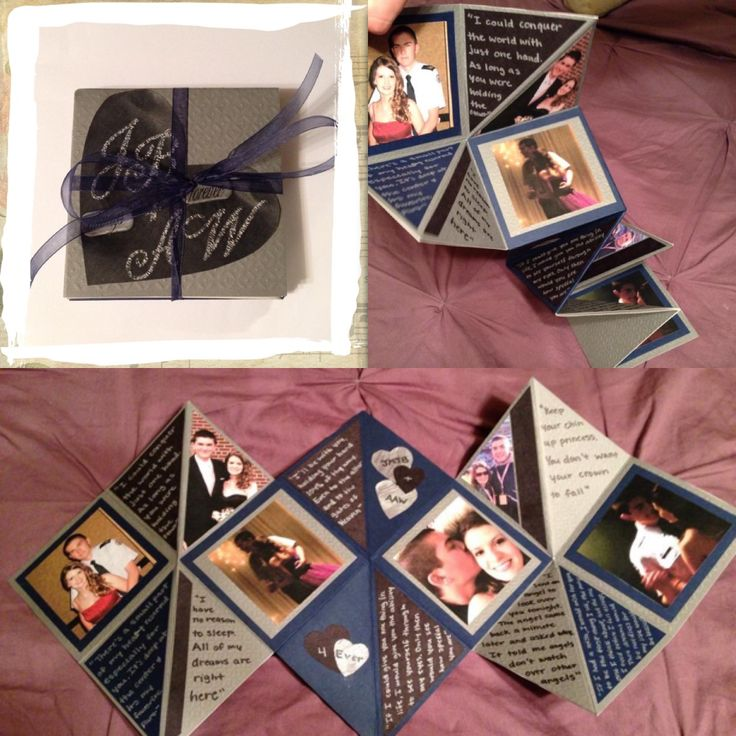 This is an accordion scrapbook that I made for my boyfriend to celebrate our two year anniversary! It was pretty easy. All it took was some supplies, lots of pictures and a YouTube video (http://youtu.be/3in9rjM9AoQ)