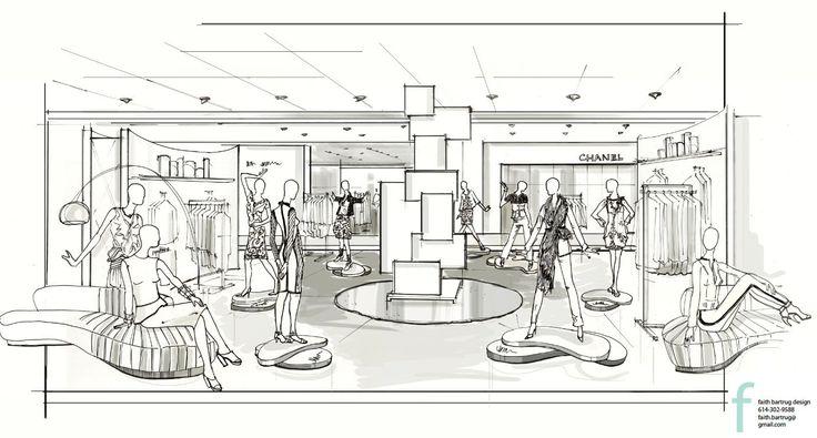 VM Sketch By Faith Bartrug Design For Neiman Marcus #VM #retaildesign #visualmerchandisingsketch ...
