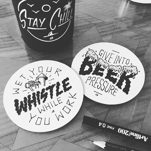 Coasting Through Sunday... ✏️ #jamiebrowneart #coasting #lazy #sunday #punday #custom #beer #coasters #drawing #artline #koozie #staychill #pen #pencil #phrases #puns #type #beerpressure #wetyourwhistle #jb