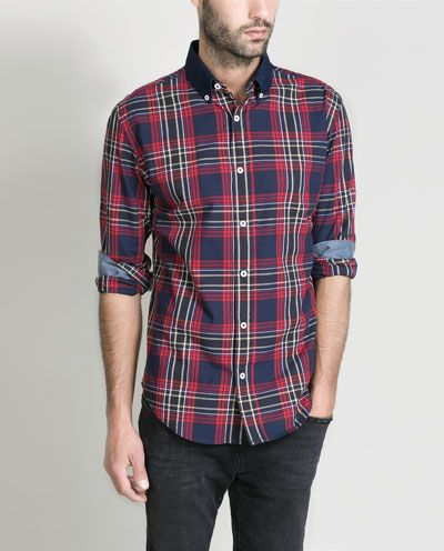 Image 2 of CONTRASTING CHECKED SHIRT from Zara