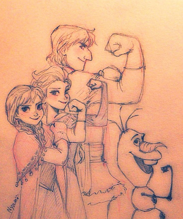 Anna, Elsa, Kristoff, and Olaf by Nyamö #frozen #disney #fanart