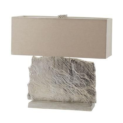 468-026 Slate Slab Table Lamp in Nickel With Natural Linen Shade