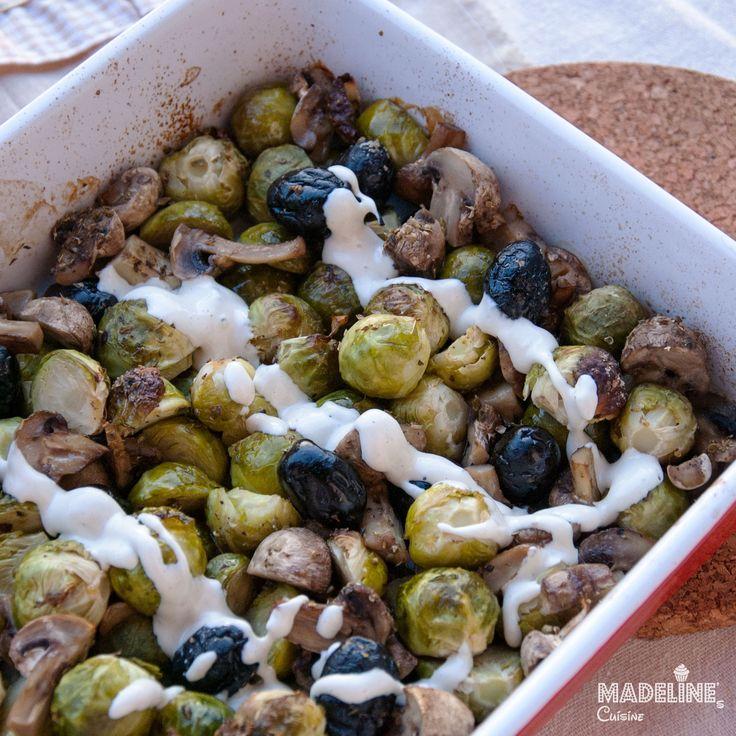 Varza de Bruxelles si ciuperci la cuptor