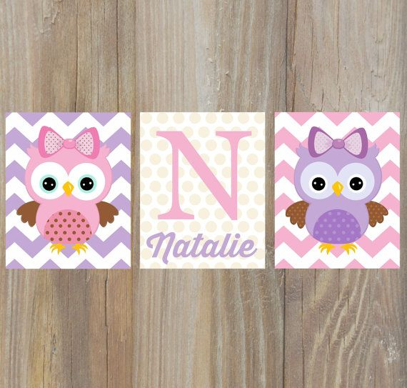 OWL NURSERY ART - owl nursey decor, owl art, owl print, Playroom wall art, Children wall art, Girls nusery , pink purple nursery, baby name