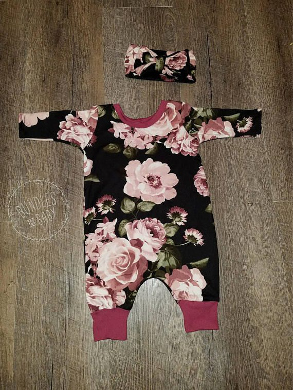 Floral Newborn Baby Romper with Matching Bow Headband