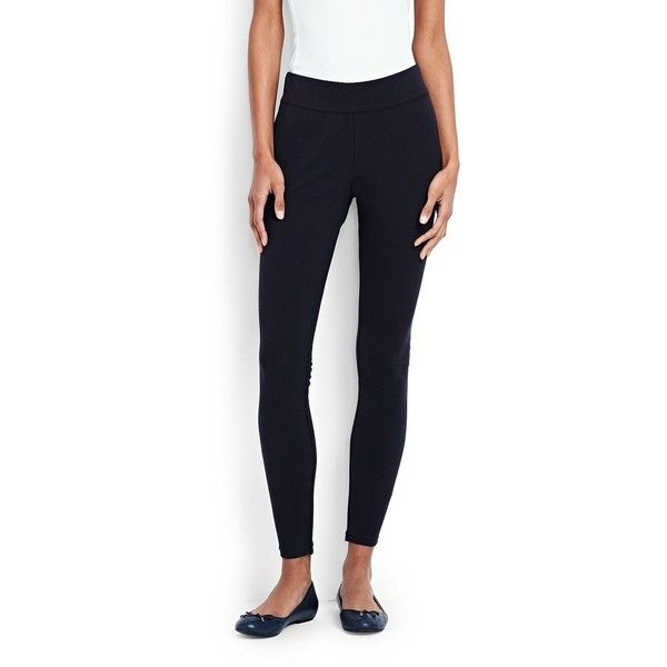 Lands' End Women's Petite Leggings - Starfish ($35) ❤ liked on Polyvore featuring pants, leggings, blue, lands' end, stretch waist pants, blue trousers, petite elastic waist pants and petite leggings