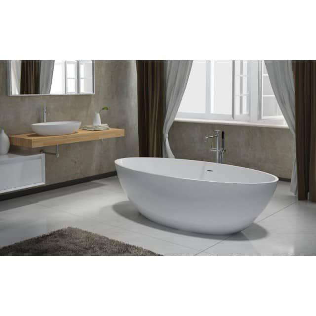 Freistehende Badewanne aus Mineralguss RIO STONE weiß - 180 x 85 cm - Solid Stone - bernstein-badshop