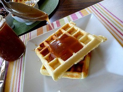 Waffles with Apple Cider Syrup and Pecans | Good Life Eats Cheaper ...
