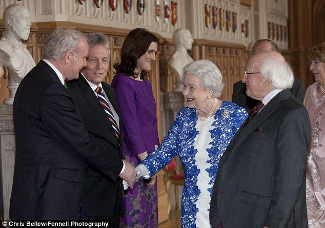 Former IRA commander Martin McGuinness today shook hands with the Queen at Windsor Castle