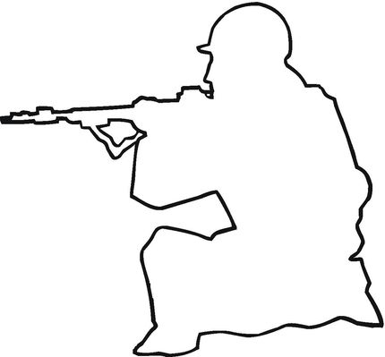 Soldier Outline coloring page. Could be used as a template