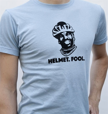 Funny t-shirts you could sell at your bike shop! http://www.lintcoat.com/fashion/mellow-johnnys-bike-shop-helmet-fool-tshirt