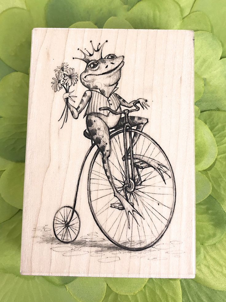 """Inkadinkado® Wood Stamp, Whimsical Frog, Prince, Unicycle, Bouquet, Crown, Cute, Toad, Long Legs, Flowers, Fairy Tale, Kiss a Frog -2.75""""x4"""" by PaperDahlsLLC on Etsy"""