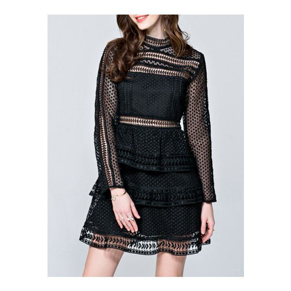 SheIn(sheinside) Black Crochet Hollow Out A-Line Dress ($57) ❤ liked on Polyvore featuring dresses, black, long sleeve short dress, crochet sleeve dress, short crochet dress, short sleeve dress and sleeved dresses